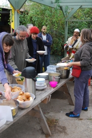 Everyone tucks into soup and homemade bread rolls for lunch