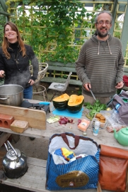 Verity and Nick prepare lunch with squash from the garden